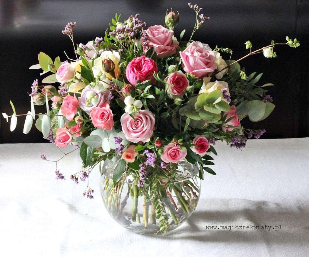 dekoracja stołu, na slub, komunię, óżowo-biała, Magiczne Kwiaty, Kraków, Małopolska 1