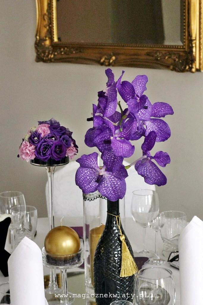 glamour wesele, fiolet, złoto, czarny, storczyki Vanda, eustoma, Kraków, Magiczne Kwiaty