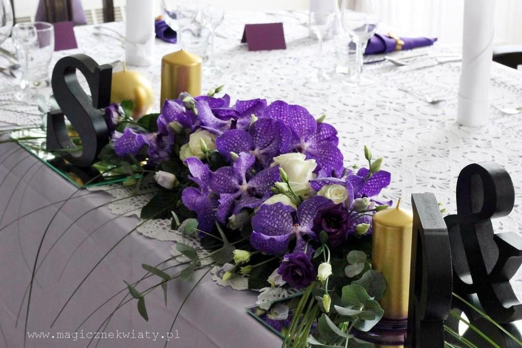 glamour wesele, fiolet, złoto, czarny, storczyki Vanda, eustoma, Kraków, Magiczne Kwiaty1b1