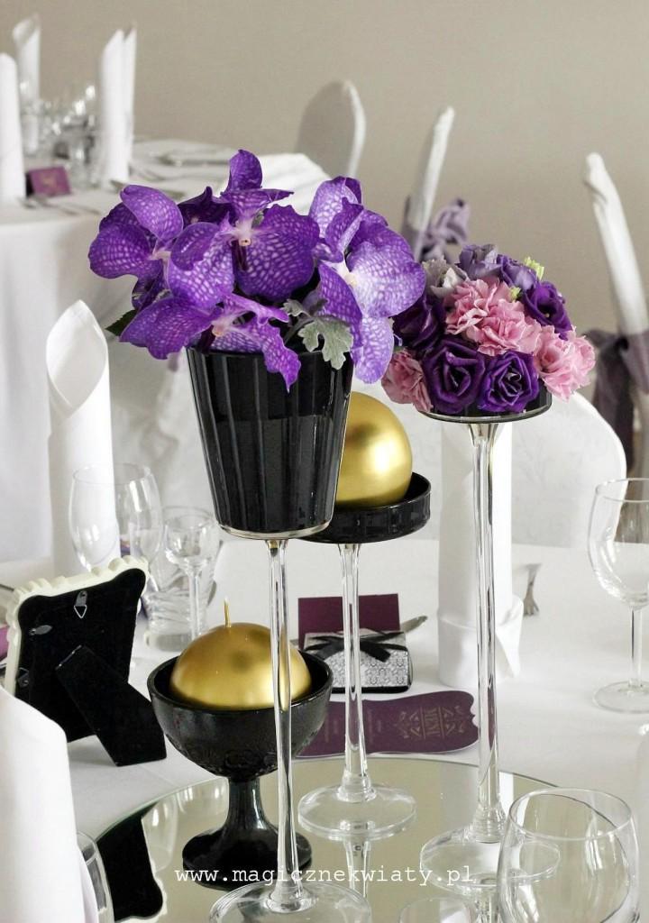glamour wesele, fiolet, złoto, czarny, storczyki Vanda, eustoma, Kraków, Magiczne Kwiaty3a