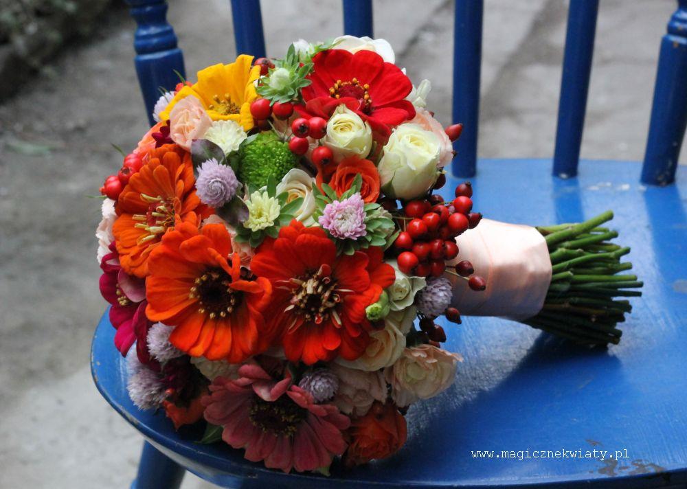 bukiet ślubny, cynie, róże, jesienny, jarzębina, astry, Kraków