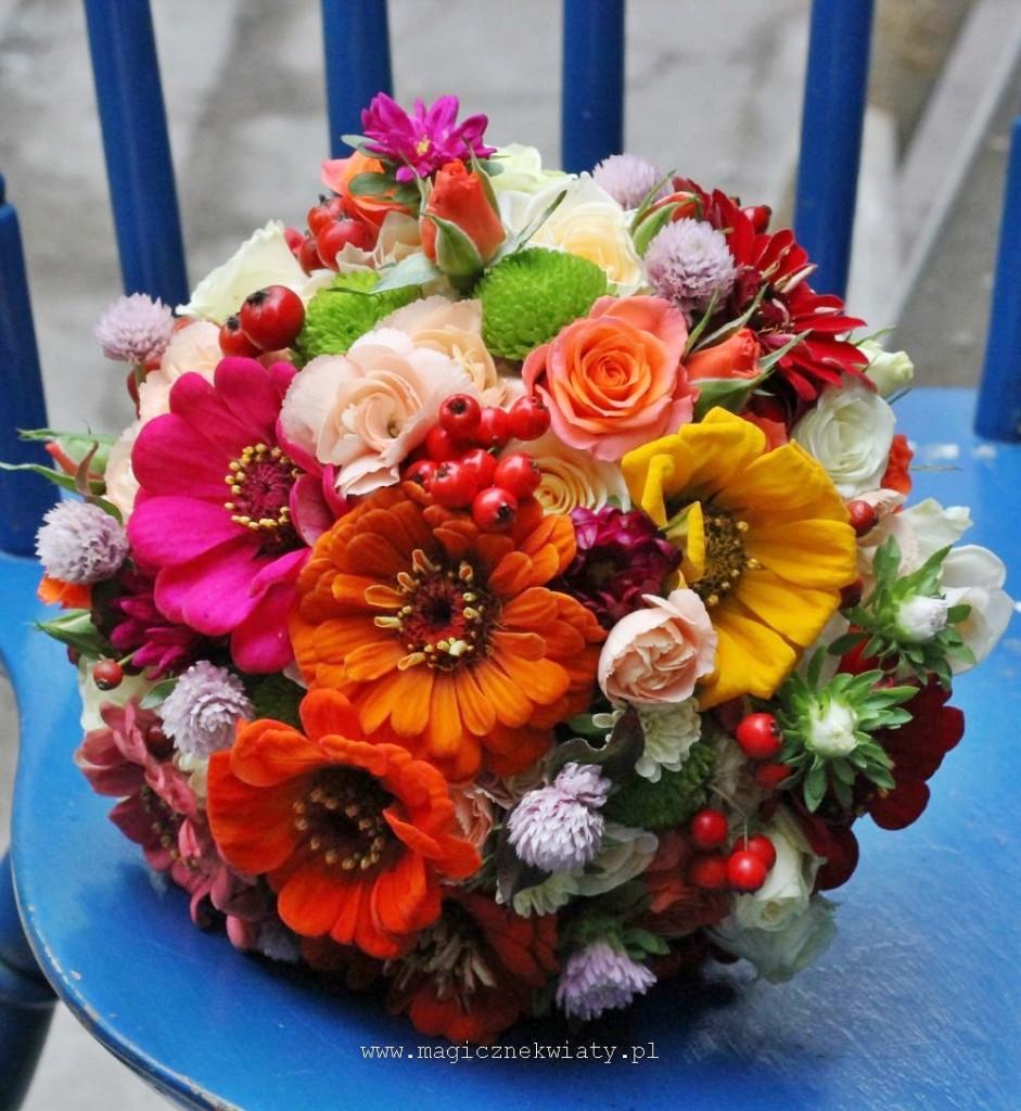 bukiet ślubny, cynie róże, jesienny, jarzębina, Kraków