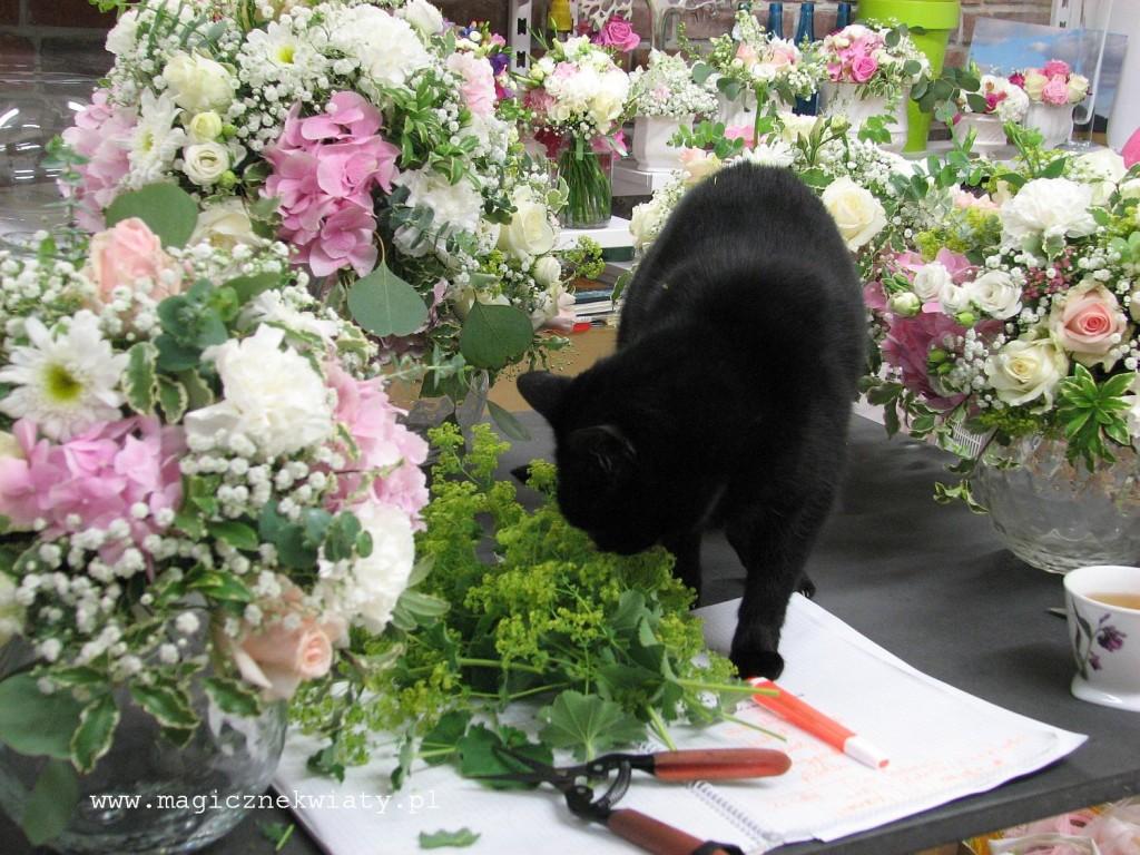 kielichy, kompozycje w kielichach, dekoracja sali, rózowa, biała, hortensje, róże14