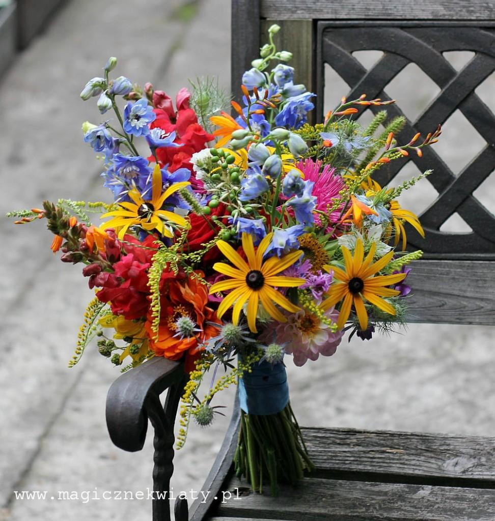 kolorowy, letni bukiet ślubny, polne kwiaty, ogrodowe kwiaty, Kraków