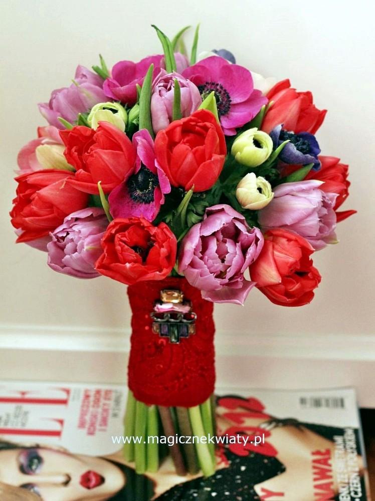 bukiet wiosenny, tulipany, czerono-rózowy