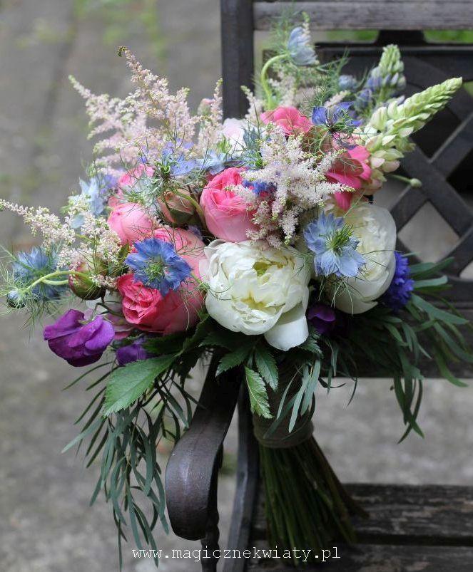 bukiet ślubny boho, swobodny, naturalny, róże angielskie i piwonie
