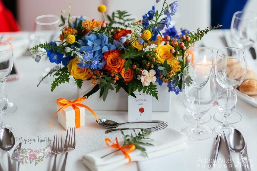 kompozycja na stół, magiczne kwiaty, kraków bkwiaty na ślub, wesele, magiczne kwiaty, kraków 2